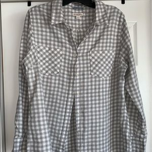 Gray and white checker button up shirt